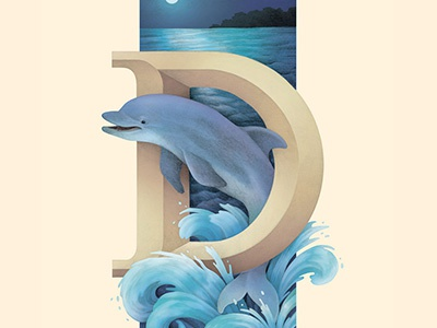 Dolphin, Living Lettering typography blue ocean waves environmental nature letter d lettering alphabet dolphin