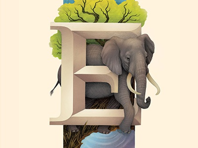 Elephant, Living Lettering letter e nature animals environmental typography lettering elephant