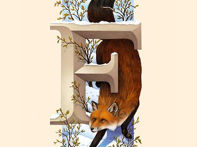 Fox, Living Lettering environment nature alphabet orange forest winter woods snow letter f letter lettering fox