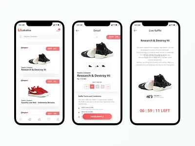 Sneakers Raffle App branding local mockup mobile ecommerce minimalist shop sneaker ios brand fashion logo ux ui