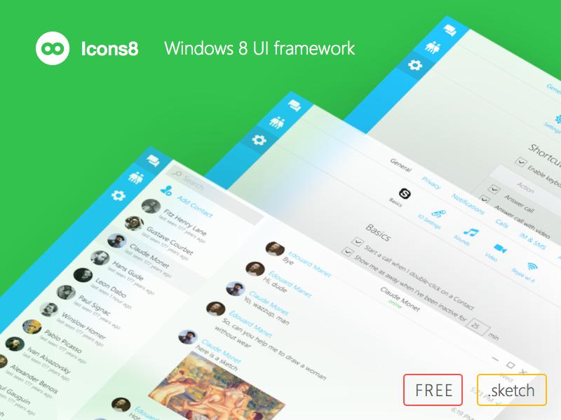Windows 8 UI framework by Icons8 icons8 skype redesign sketch ui wpf framework 8 windows free