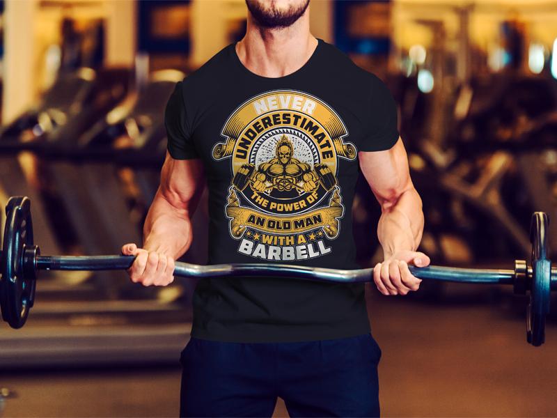 6e1091f44dc38c Fitness/Gym T-Shirt Design yoga barbell gym fitness pod tee fashion t-