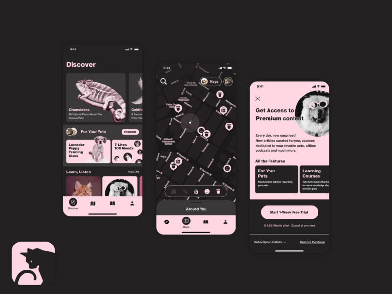 My Designflows 2020 simple minimal clean flat ios monochrome pink challenges bendingspoons pets design app challenge designflows
