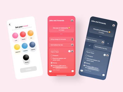 Instant Love gradients blur simple lovers debuts feedback emotion colors uidesign swift iohone app couple love