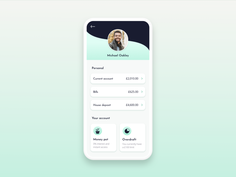 Daily UI Challenge 006 - User Profile icon design icon ux mobile ui mobile banking app banking app userprofile dailyui006 dailyui 006