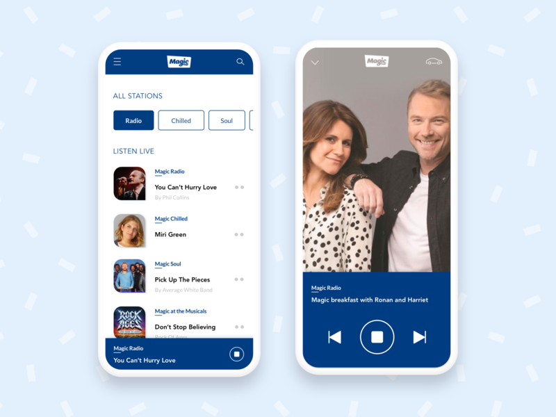 Daily UI Challenge 09 - Music app ux ui mobile magic radio app design radio music app app daily uidaily 009