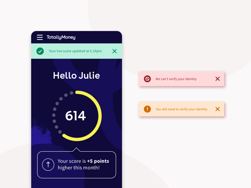 Flash messages | Daily UI Challenge #011 uidaily ui totallymoney mobile design mobile flash messages fintech app fintech dashboard ui dashboad dailyui11 daily credit score app design app 011
