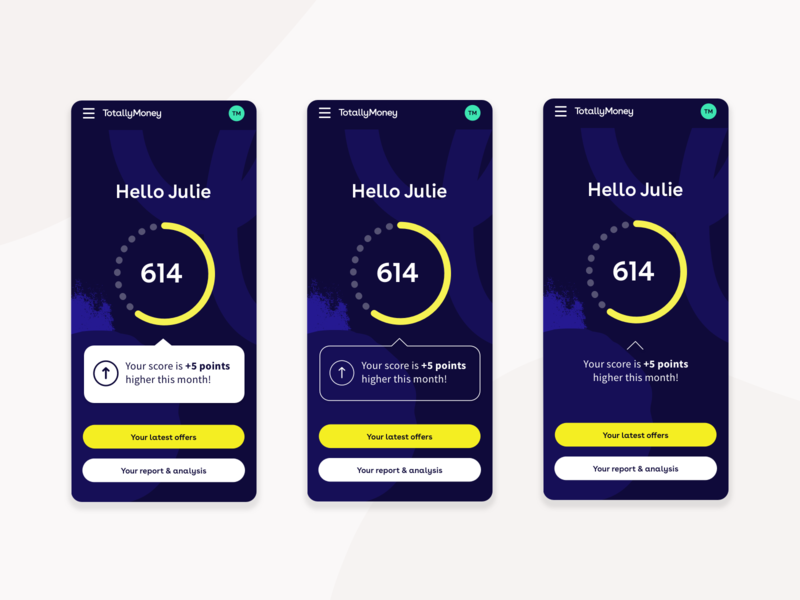 Dashboard Explorations | TotallyMoney credit report credit score totallymoney product design mobile design mobile fintech app dashboard ui dashboard app design app