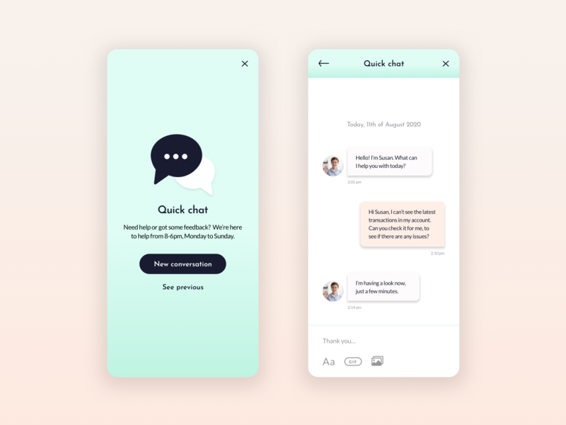 Direct Messaging In App |  | Daily UI Challenge #013 banking app mobile ui mobile messaging in app messaging product design fintech app fintech app design app dailyui13 dailyui daily 013
