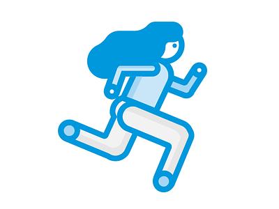 Runner girl design blue girl running vector character illustration