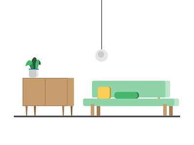 Cozy Living Room ui infographic geometric geometric design simple clean interior design vector illustration living room room house vector design illustration