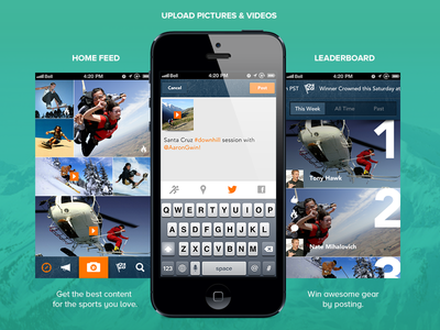 XS App mobile design flat design app home feed leader board upload