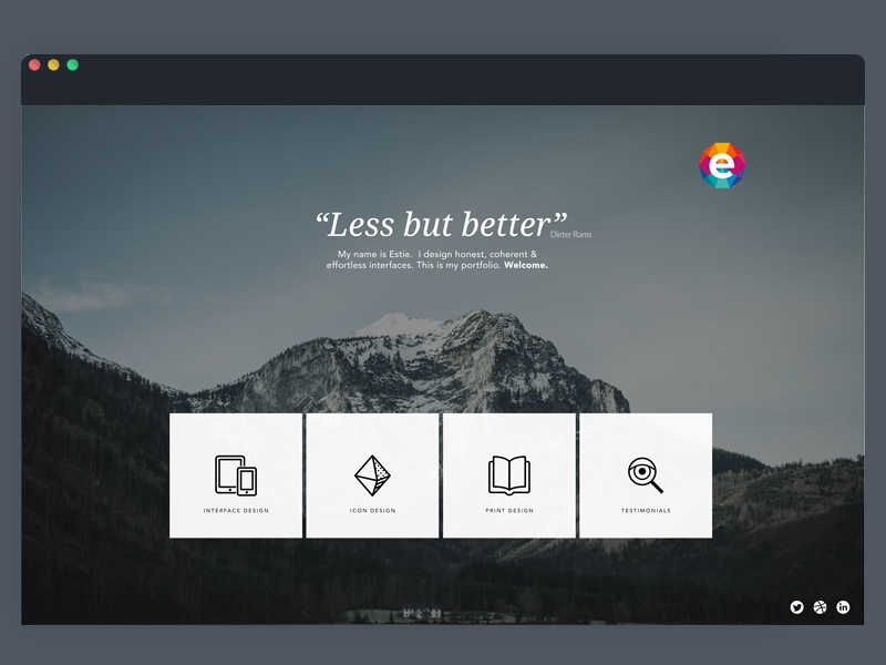 New Folio web design flat design clean dark icons landing page