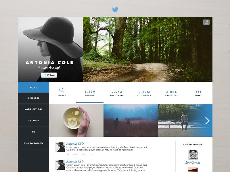 Twitter Layout Redesign minimalistic clean twitter redesign twitter layout twitter design web design rebound flat design ui design ux design minimal design