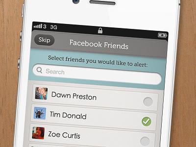 Facebook Friends Selection. iphone app