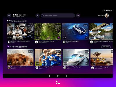 LeiaStream android tablet app design ui adobe xd