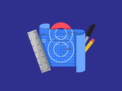 Super8 January 2018 sharpie august co digital agency super8 ruler stationary illustration blueprint