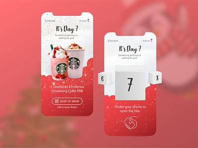 Concept of an online adventcalendar mystery qrcode surprise santa claus milkshake starbucks christmas gift gifts adventcalendar advent appdesign app uxdesign ux uiux ui design uidesign ui design