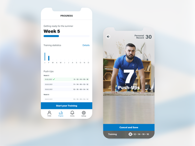 Concept of a simple fitness app screendesign simple clean blue workout userinterfacedesign push up fitness webdesign design inpiration app application mobile userinterface uxdesign uidesign appdesign ux ui