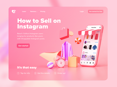 Concept of a service for instagram shopping userexperiencedesign e-commerce webdesigns userexperience phone pink service instagram shopping 3dillustration illustration website userinterface webdesign ui design uxdesign ux uidesign ui design