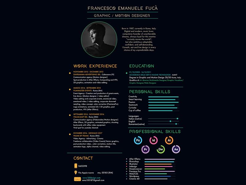 Curriculum Vitae Design By F Emanuele Fuca Dribbble Dribbble