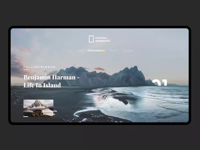Iceland NatGeo - Parallax Scrolling photography photo iceland webdesign website web parallax effect parallax national geographic clean ux app ui minimal flat design