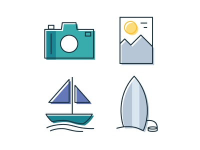 Simple Travel Icons logo design linework icons travel simple