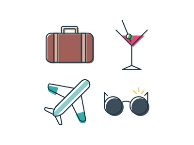 Simple Travel Icons 2 logo design linework icons travel simple
