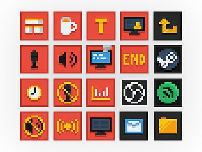 8-Bit Streamer UI Icons livestream streamer icons 8-bit