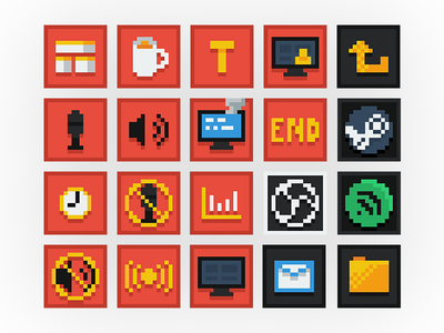 8-Bit Streamer UI Icons livestream streamer icons 8-bit