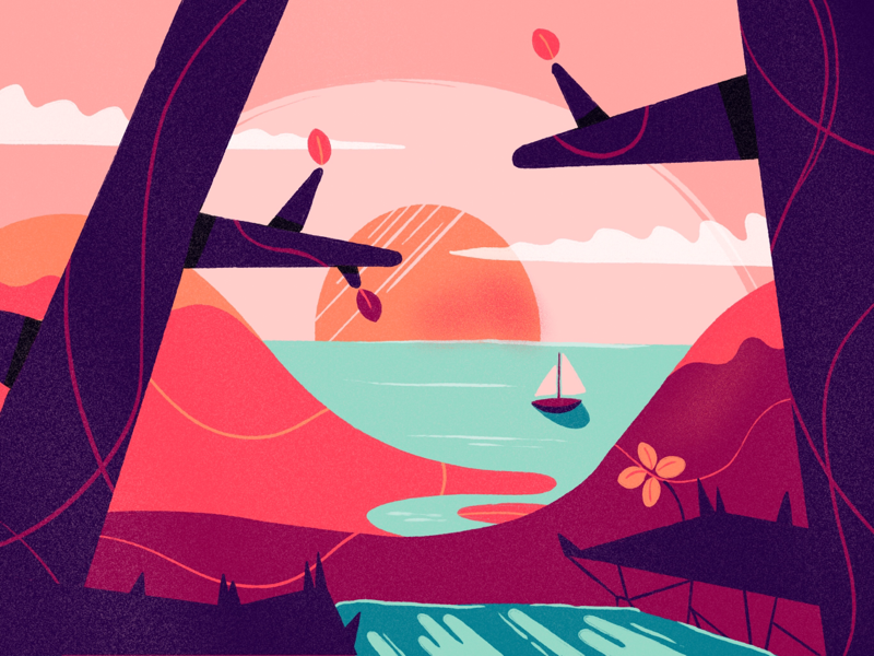 Ocean View limited palette illustration procreate