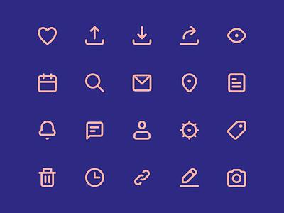 Hello Dribbble! vectly line icons icon freebie free flat ui