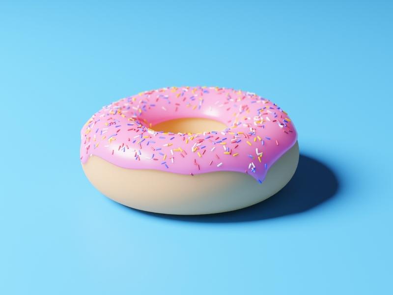 A tasty round donut branding color donut blender blender3d 3d