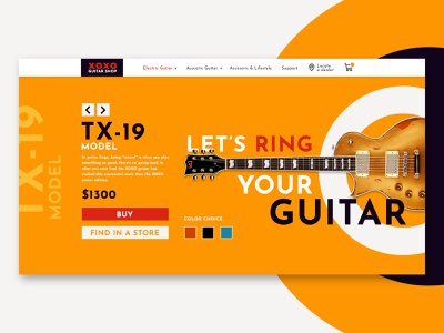 Guitar Shop Landing Page flat minimal web app typography ux branding design inspiration ui design