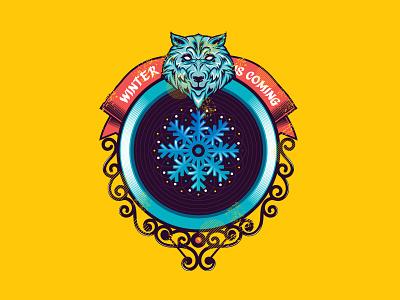 WINTER SEASON BADGE (DRIBBBLE WEEK DESIGN CHALLENGE) wolf snow season winter bagde design inspiration logo vector illustration dribbbleweekchallenge