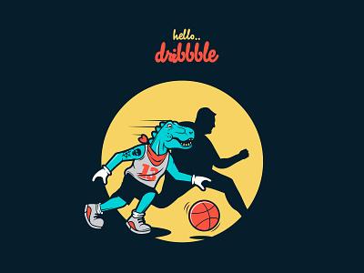 HELLO DRIBBBLE t-rex characterdesign hellodribbble vector design illustration