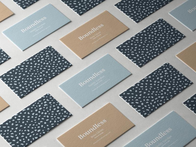 Boundless Business Cards business cards pattern beige navy logo begum begum font branding boundless rugs boundless