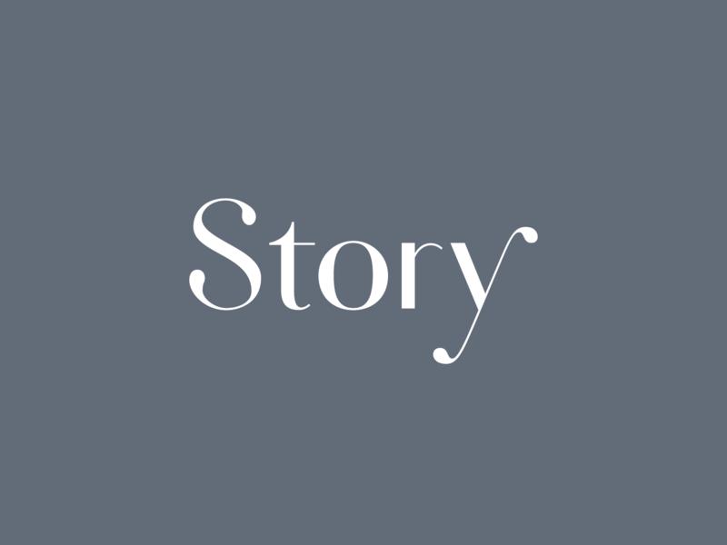Story Logo ball terminal blue lettering serif branding logo