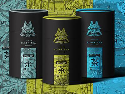 Samurillo Black Tea Illustration Art & Package Design elegant cylinder package design packages samurai line japanese traditional japan art illustration tea black style anime