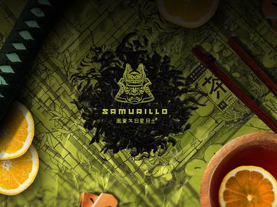Samurillo Black Tea Illustration Art & Package Design brand design chinese helmet lineart style anime tea japanese samurai logo