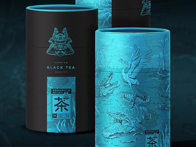 Samurillo Black Tea Illustration Art & Package Design sleek detailed amazing line-art illustration swamp lake moon style japanese art crocodiles design crane