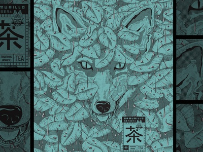 Fox in the bush illustration art japanese style eyes pastel line-art badge tea japanese hunting forest tropics rain jungle bushes illustration drawing fox