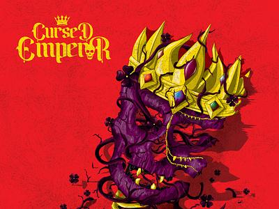Illustration Novel Cursed Emperor cover art jewels golden crown red theme cover poster book prints book cover graphic designer hand-drawn illustration vector arts skull