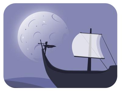 Flat illustration ship moon