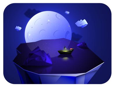 Elegant sleek illustration ship at night lake
