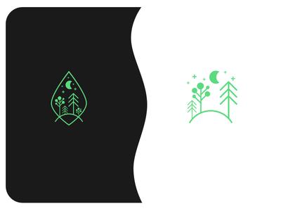 Line art forest logo design