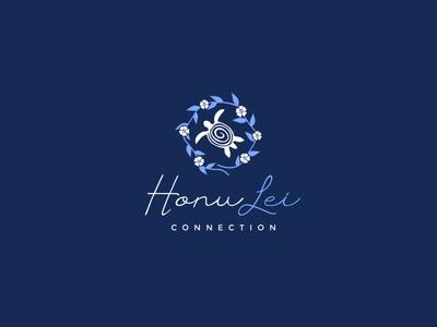 Turtle and Hawaii garland logo design