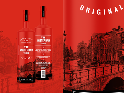 Vodka bottle print design label