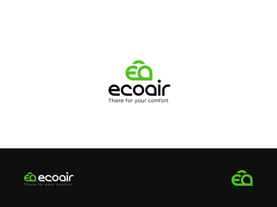 Eco Air green black logo design logo minimal graphic illustration ecommerce design green air nice logo sweet curly bold font minimalism cloud logo cloud eco logo ecology eco