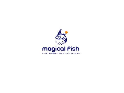 Magical Fish with Magic Wand logo design